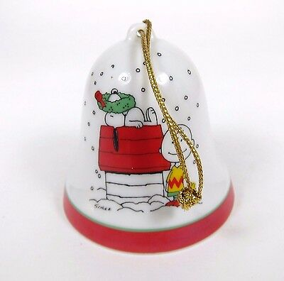Vintage Peanuts Christmas Ornament Porcelain Bell Deck the Dog Holly Snoopy 70s