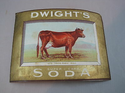 Early Vintage Advertising Paper Baking Soda Label Dwight's Soda Cow
