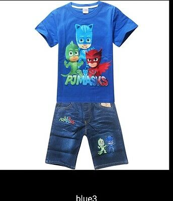 Pj Masks completo  jeans t-shirt  bambini cartoon children short  cartoni summer