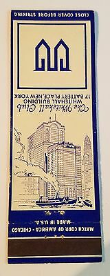 Rare Matchbook Cover - THE WHITEHALL CLUB - 17 BATTERY PLACE NEW YORK CITY