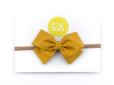 Mustard Baby Girl Bow Headband Newborn Toddler Hairband Soft Elastic Handmade