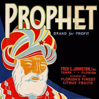 Tampa Florida Prophet Orange Citrus Fruit Crate Label Print