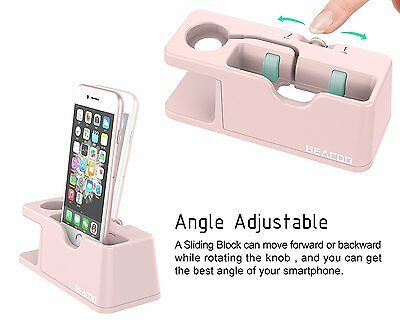 Pink Apple Watch Stand Charge Station For iPhone iWatch Dock Holder 38mm / 42mm