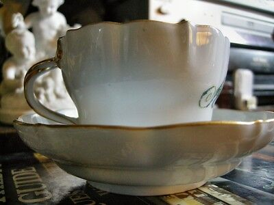 Antique Meissen 19th Century Cup and Saucer with Painted Name : Adolph