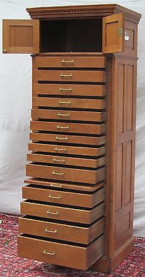 14 Drawer Antique Oak Raised Panel Lockside Jewelers Cabinet ~~ File Cabinet