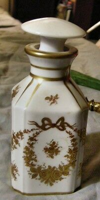 """Sevres Flask in White w. Gold Designs; Date Letter for 18th Century """"S""""."""