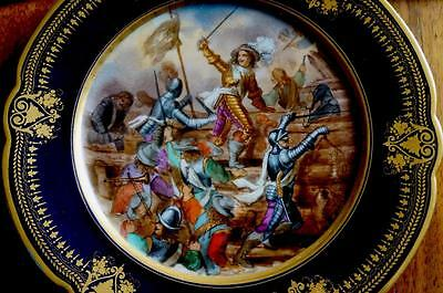 """Antique Sevres Plate  Battle Scene Bears 18th Century Mark of """"A"""""""
