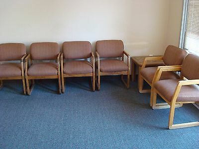 Oak uphostered waitingroom chairs medical-dental REDUCED PRICE
