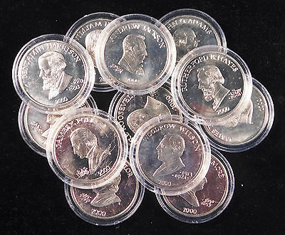 Group of Liberia $5 Coins depicting U.S. Presidents
