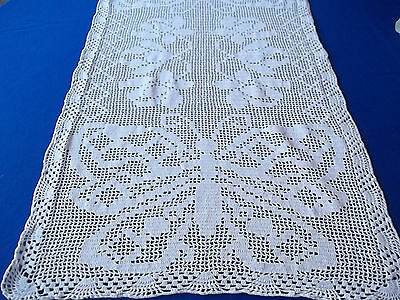 "Vintage Butterfly End Large 20x36""  White Hand Crochet Tablecloth / Runner"