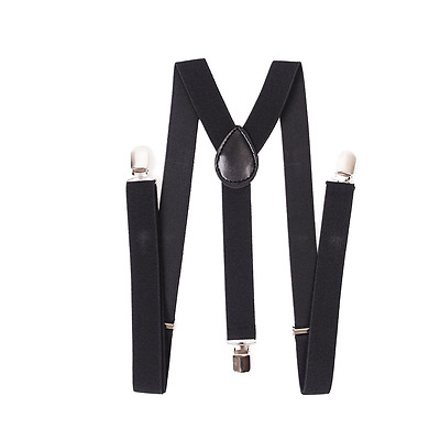 AJ Accessories Youth Boys Solid Adjustable Nylon Suspenders (Black)