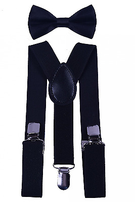 BODY STRENTH Kids Boys Girls Suspenders Strong Clips With Bow tie Set
