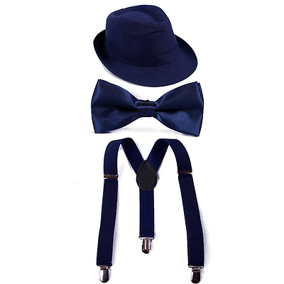 HDE Boys Adjustable Suspenders with Pre-tied Bow Tie and Short Brim Fedora Hat