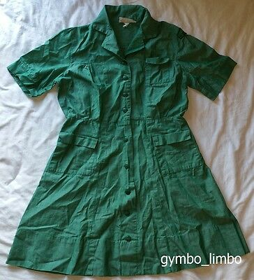 Vintage Official Girl Scout Uniform Green Collared Shirt Dress