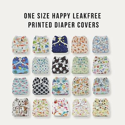 100 KaWaii Baby One Size Happy LeakFree Printed Diaper Covers Reusable 8-36lbs