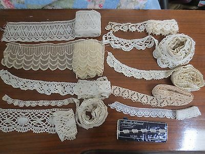 mixed vintage lace lot and a handmade lace collar