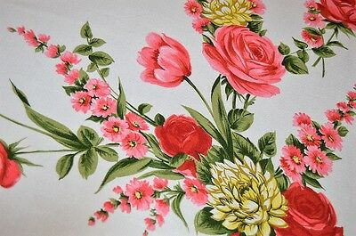 Garden Paradise Of Pink & Red Tulips & Roses! Vtg German Spring Print Tablecloth