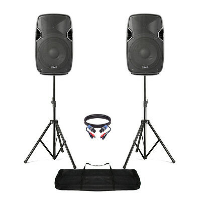 """Pair of Active Powered 10"""" Mobile DJ PA Disco Speakers with Stands & Cables 800W"""