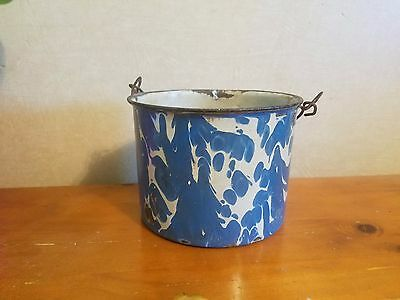 Antique Rare Blue & White Graniteware Enamelware Large Berry  Pail
