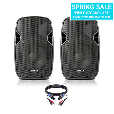 """Pair of Active Powered 8"""" Mobile DJ PA Disco Speakers with Cables 400 Watts"""