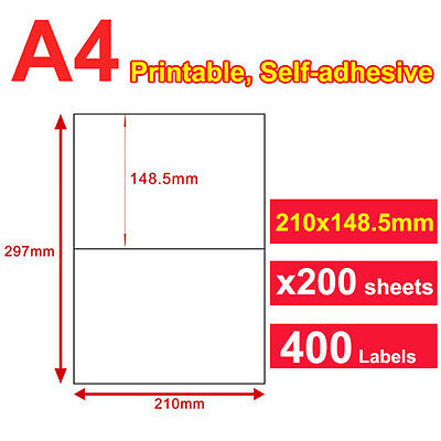 200 Sheets 21x14.8cm 2 Labels Per Page Quality A4 Shipping Label Laser Inkjet