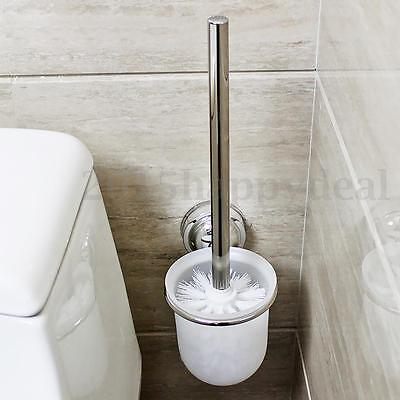 Chrome Round Wall Mounted Toilet Brush & Frosted Glass Brush Holder Standing Set
