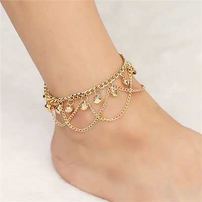 Fashion Boho Gold Bell Tassels Chain Anklet Ankle Barefoot Beach Charm Jewelry