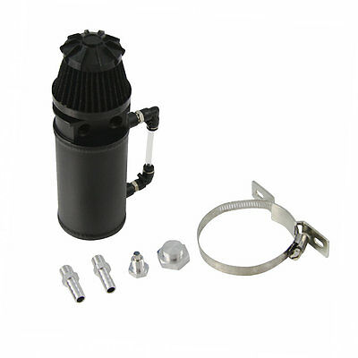 0.5L Baffled Aluminum Oil Reservoir Catch Can Tank +Breather Filter Black