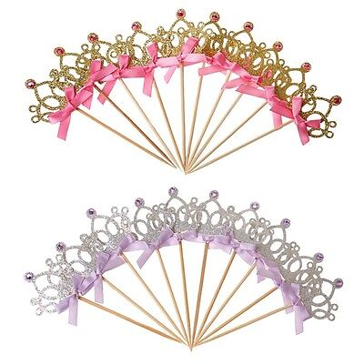 10Pcs/set Crown Cake Topper Food Picks with Ribbon Pink and Gold Cake Decoration