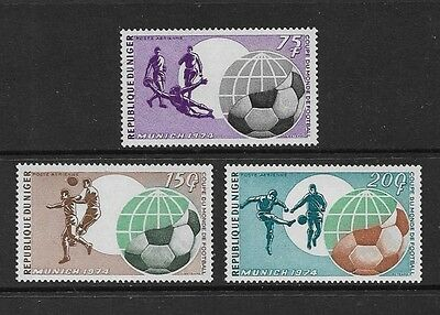 NIGER - mint 1974 World Cup Football Soccer Munich, set of 3, MNH MUH