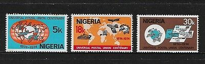 NIGERIA - mint 1974 Centenary of UPU, set of 3, MNH MUH