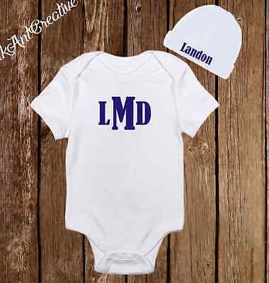 Personalized Monogram Cute Baby Boy Clothes Onesies Hat Beanie Shower Gift Set