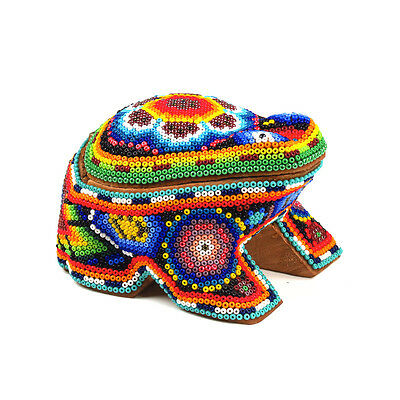 FROG Huichol Beaded Handcrafted Wood Carving Sculpture Mexican Bead Folk Art