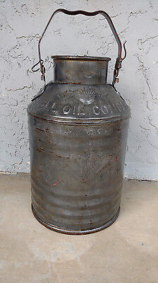 Antique Vintage Shell Oil Co. Metal Embossed 5 Gallon Gas Can
