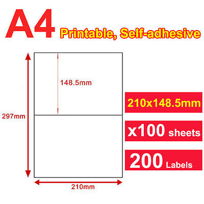 100 Sheets 21x14.8cm 2 Labels Per Page Quality A4 Shipping Label Laser Inkjet