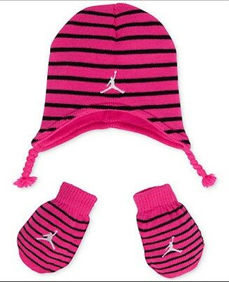 Nike Air Jordan Girls Pink Infant Hat Beanie and Gloves Set Size 12-24 Months