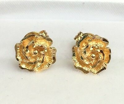 18k Solid Yellow Gold Cute Small Rose Flower Stud Earrings, 2.57 Grams