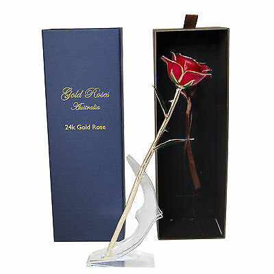 24K Gold Karat Plated dipped in Red Rose w/stand AUS FAST FREE shipping