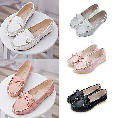 New Womens Ladies Bowknot Flat Loafers Moccasins Casual Ballet Boat Shoes IAU