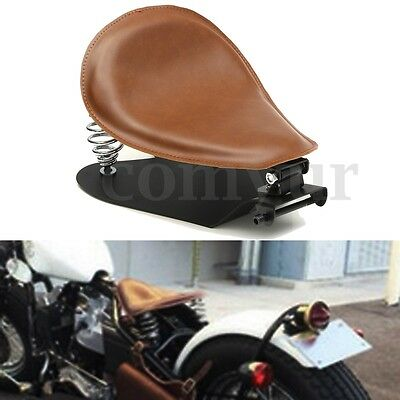 Leather Spring Solo Seat + Bracket for Harley Sportster Iron XL883 XL1200 X48 72
