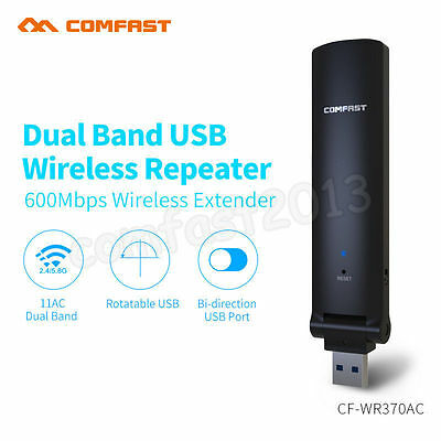 600Mbps 2.4G/5GHz Dual Band Wireless Repeater Amplifier WiFi Extender Booster UK