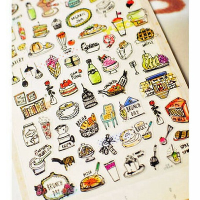 Kawaii Tasty Brunch Day Stickers, Zakka Food Sticker Scrapbooking DIY Planner