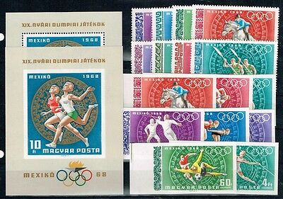 Hungary.1968 Summer Olympics Game.Mexico.Perforat.Imperforated.MNH.**
