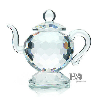 H&D 3D Clear Crystal Paperweight teapot Figurines Glass Wedding Ornaments Gift