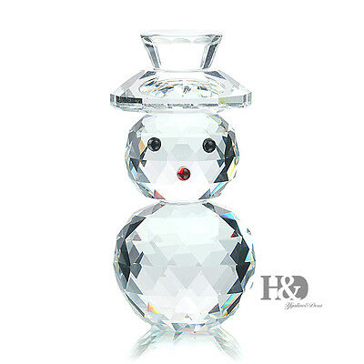 3D Clear Crystal Paperweights Snowman Figurine Glass Xmas Wedding Ornament Gift