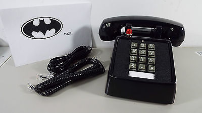 New Retro Black Phone Push Button Desk Telephone Vintage Batman Look Generic T43