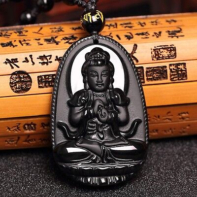 Volcanic Protective Obsidian Buddha Amulet Pendant Necklace - Hand Carved