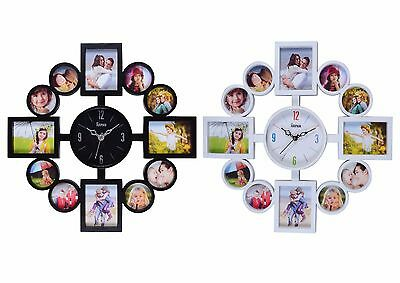 12 Multi Aperture Photo Picture Wall Clock Gift Frame Time Collage Modern X 1
