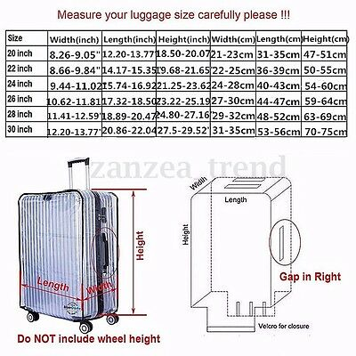 20''22''24''26''28''30'' PVC Transparent Luggage Protector Travel Suitcase Cover