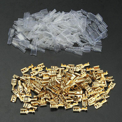 100x Female Terminals Crimp Connectors Spade Blade Insulated Sleeves Wire 6.3mm